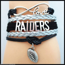 OAKLAND RAIDERS INFINITY BRACELET 5 LAYER WRAP CORD FANS FOOTBALL CHARM ... - $6.85