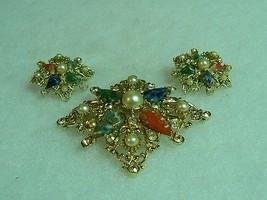 Beautiful Vintage Goldtone Sarah Coventry Galaxy Brooch Earrings - $25.24