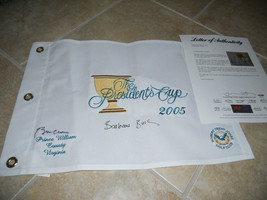 Bill Clinton Barbara Bush Presidents Cup 2005 Signed Golf Flag PSA Certi... - $1,499.99