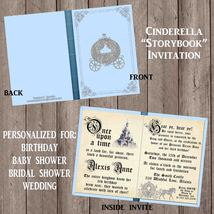 PRINTABLE Cinderella Storybook Invitation Birthday Baby Shower Silver Gl... - £10.67 GBP