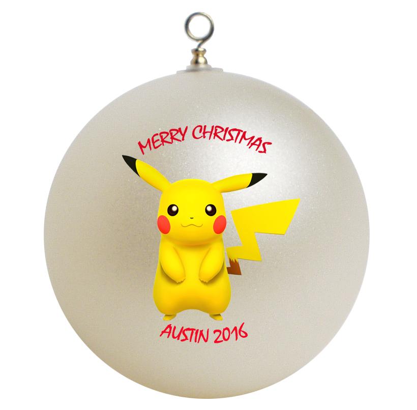 Personalized pokemon pikachu christmas ornament gift