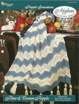 Needlecraft Shop Crochet Pattern 962330 Blue And Cream Ripple Afghan Series - $4.99