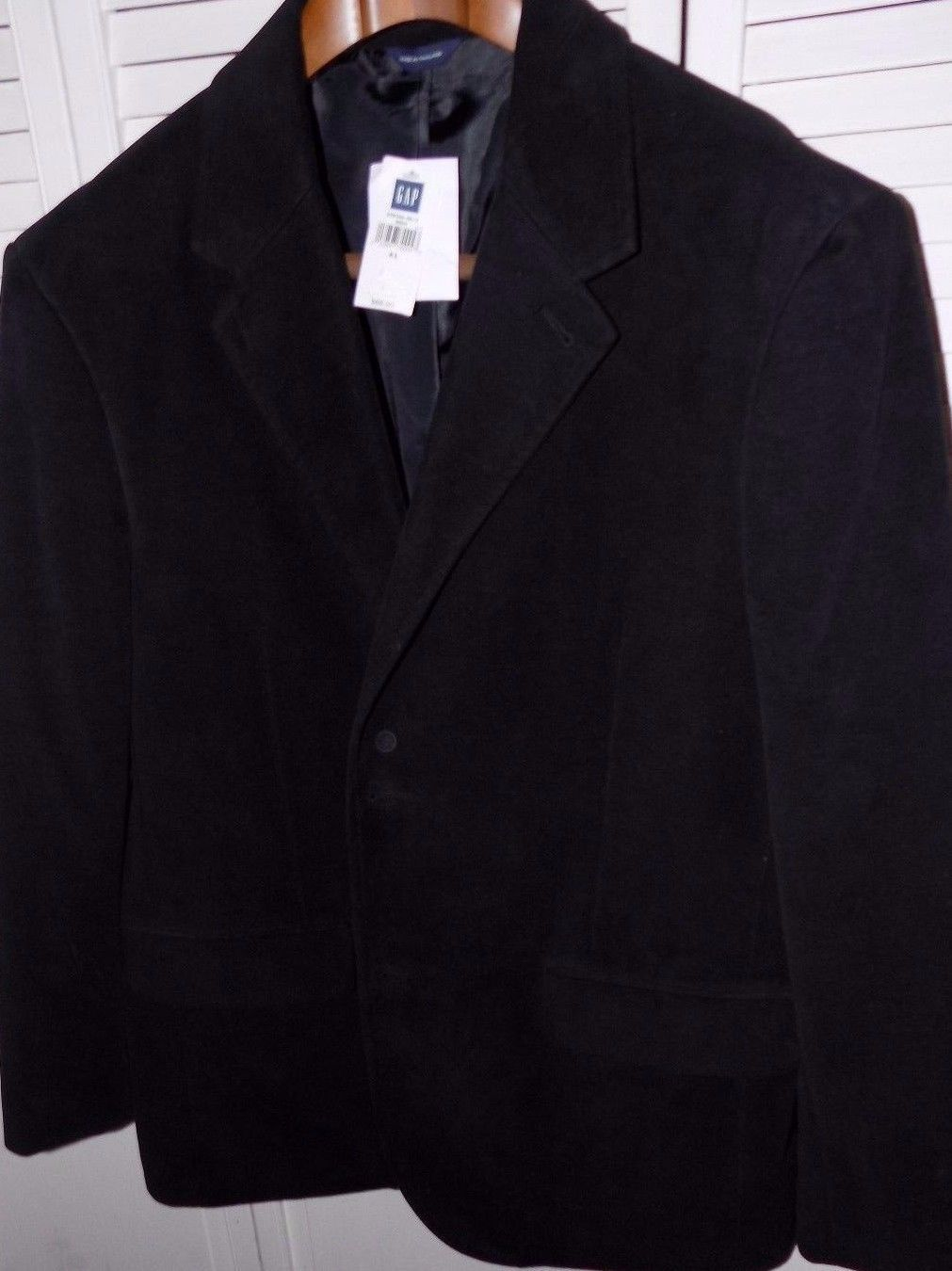 NEW Men`s GAP 100% Cotton Black Suede Look Sports Coat Jacket Size 46R XLGE