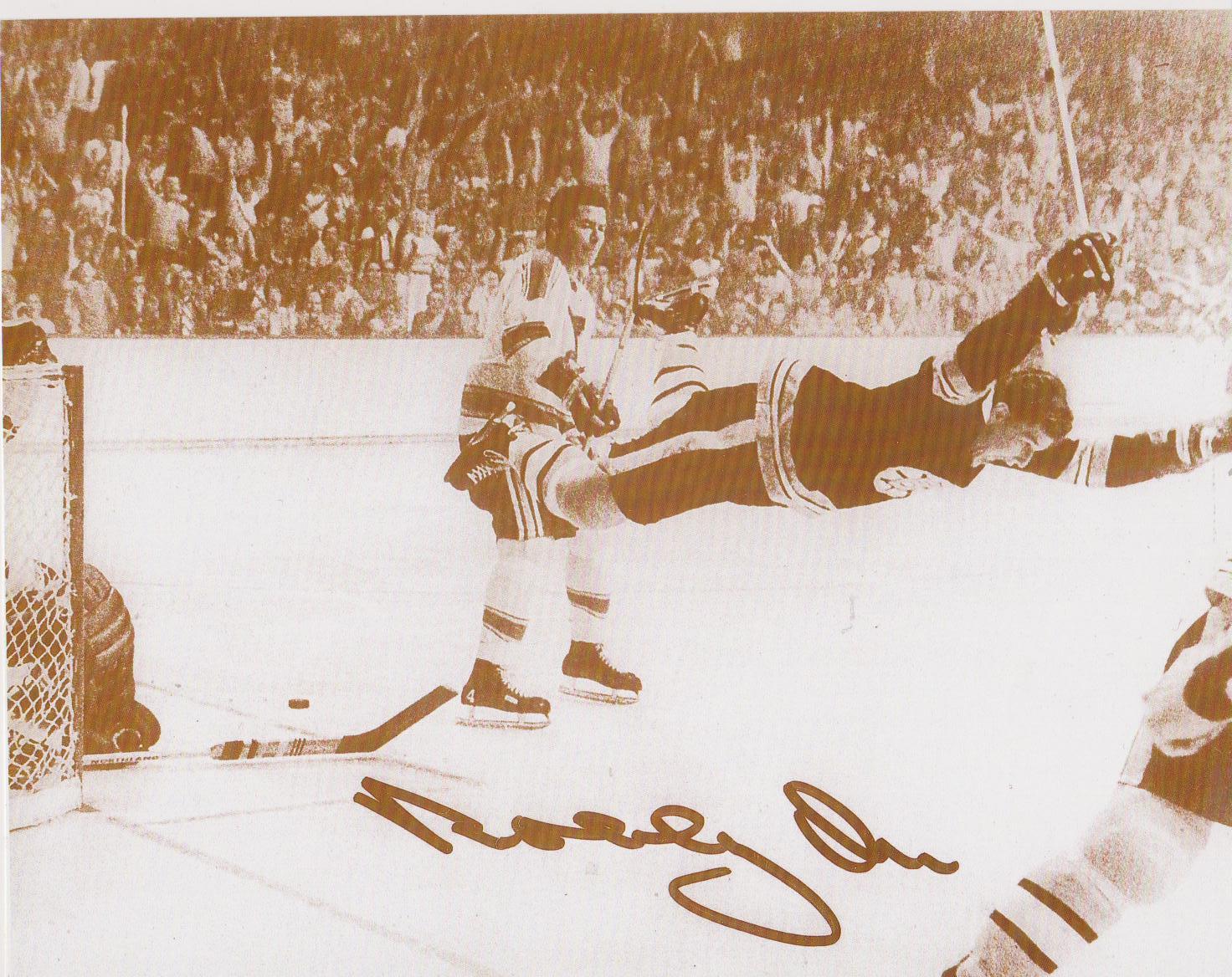 Bobby Orr Boston Bruins 05/10/70 Cup Winning Goal vs St Louis 8X10 Sepia Photo - $5.99