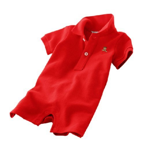 Baby Polo Bodysuit Infant Romper Toddlers Onesies Learn Creeping Climbing RED