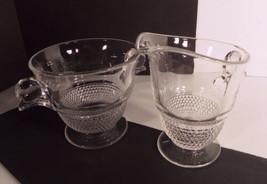 Duncan Miller Crystal TEARDROP Elegant Glass Open Sugar and Creamer Set - $16.33