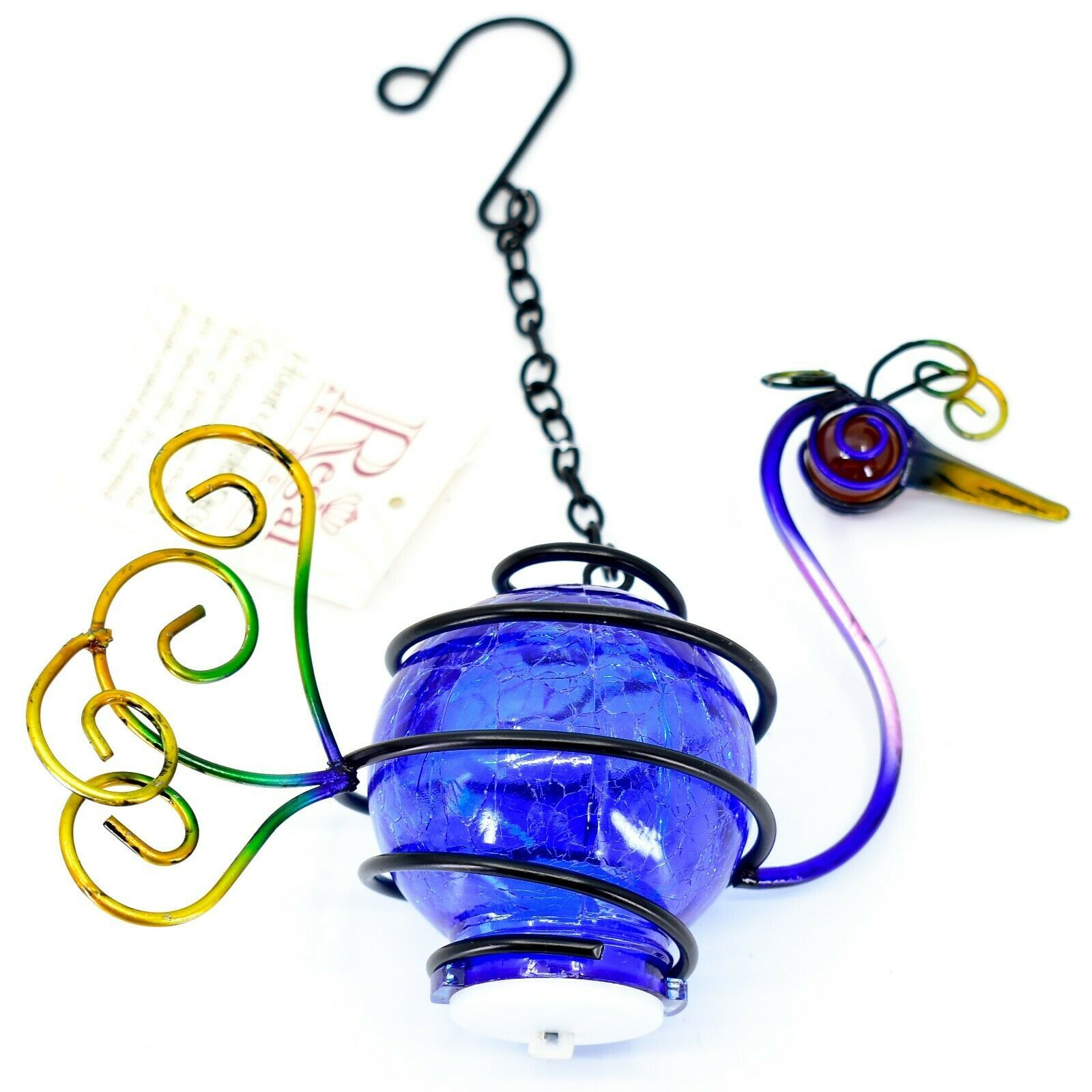 Regal Art & Gift Metal Crackle Glass Peacock Hanging Solar Lantern Garden Decor