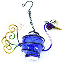 Regal Art & Gift Metal Crackle Glass Peacock Hanging Solar Lantern Garden Decor image 1