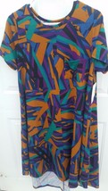 Lularoe Multi line Design Carly Dress Great Fall colors! NWT! Swingy Comfortable - $55.00