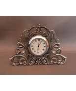 Diminutive Pewter Kirk Stieff Lenox Quartz Desk Clock  - $15.99