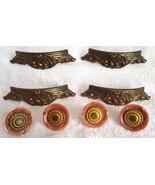 Vintage Cabinet Pulls & Knobs Mid Century Brass Marbled Plastic Salvage ... - $27.95
