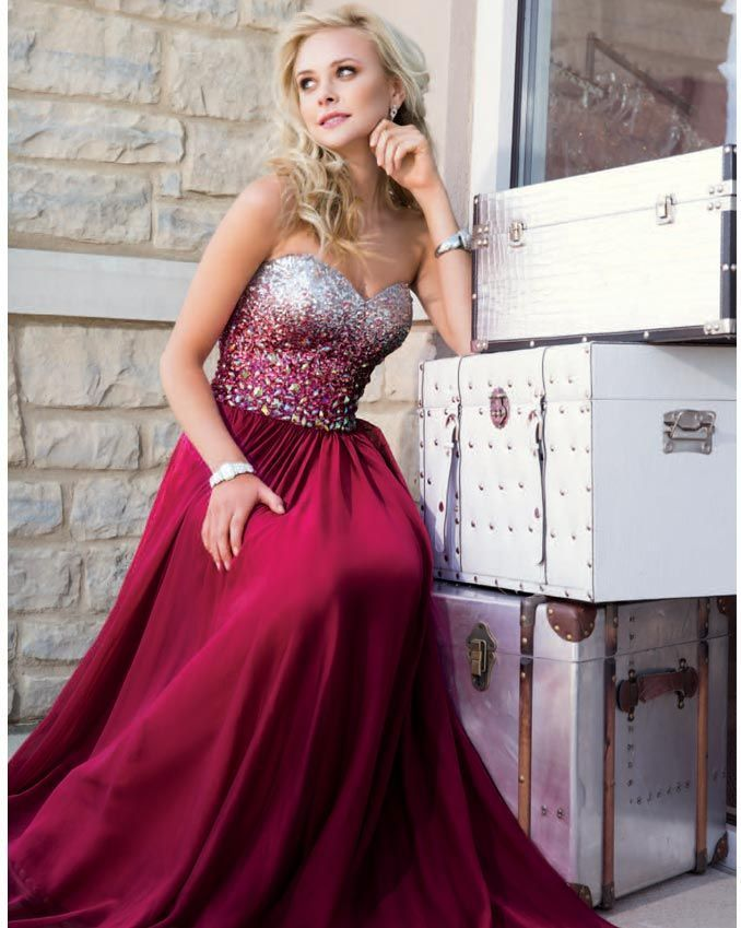 Sweetheart Neck Long Chiffon Prom Dresses With Crystals Floor Length Party Dress