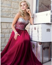 Sweetheart Neck Long Chiffon Prom Dresses With Crystals Floor Length Par... - $179.90