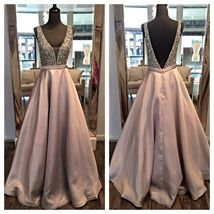 Deep V-neck Satin Prom Dresses with Crystals Court Train Party Dresses - $179.90