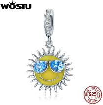 WOSTU 925 Sterling Silver Cool Summer Sun Yellow Color Enamel Blue CZ Pe... - $28.46