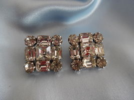 Vintage WEISS Rhinestone Square Clip on EARRINGS - Signed - FREE SHIPPING - $42.50