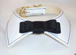 Designer Dog Collar White Patent Leather w/ Bla... - $15.59 - $16.53