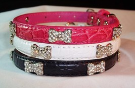 Snakeskin Dog Collar Crystal Jeweled Bling Bone... - $14.01 - $15.88