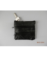 New black change purse - coin purse w/ 4 zipper compartments & key ring ... - $7.00