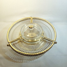 Faber Bros Gold & Clear Small Lazy Susan Appetizer RETRO 4 Part Divided ... - $22.00