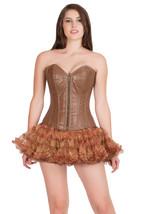 Sexy Brown Leather Zipper Burlesque Overbust & Tissue Tutu Skirt Corset Dress - $84.14+