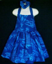 NEW Handmade SeaWorld Dolphin Toile Halter Dress Set Custom Sz 12M-14Yrs - $59.98