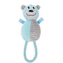 Pet Life Plush Huggabear Natural Jute And Squeak Chew Tugging Dog Toy (DT26)