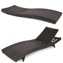Outdoor Patio Furniture Wicker Rattan Adjustable Pool Chaise Lounge Chai... - $193.89