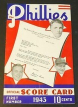 1943 Philadelphia Phillies Baseball Program w/Ticket Stub v Pirates Unsc... - $34.65