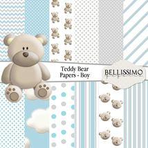 """Blue Grey Teddy Bear Paper,12""""x12"""", Digital Pap... - $3.50"""