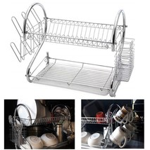 Dish rack 2 tier drying sink dry drain drip tray utensil holder heavy-du... - €25,83 EUR