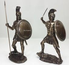 *** SET OF 2 *** SPARTAN GREEK WARRIOR Statue HOPLITE SHIELD SWORD Art S... - $112.50