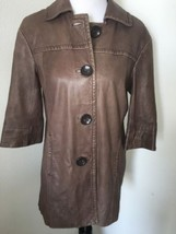 Vince Soft Leather Jacket Light Brown Small Collared Button Front 3/4 sleeve  - $74.78