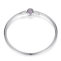 17 cm Sterling Silver Bangle Bracelet with Pink Heart Fits Pandora Charm... - $26.97