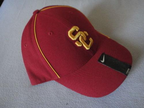 New Nike Dri Fit USC Maroon Yellow Trim Football Hat Cap NCCA #27796X Sz One