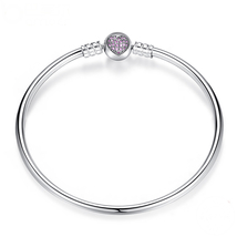 21 cm Sterling Silver Bangle Bracelet with Pink Heart Fits Pandora Charm... - $26.97
