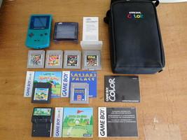 Nintendo GAME BOY COLOR Teal BUNDLE w/7 Games Manuals Travel Case Light ... - $135.99