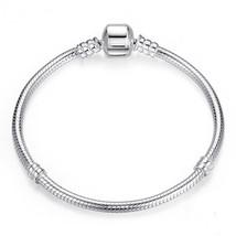 19 cm Sterling Silver Bracelet with Silver Barrel, Silver Charm Bracelet - $34.97