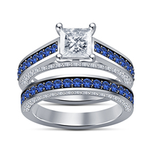 Princess cut Diamond Cz 925 Silver Wedding Ring Set Engagement Band - $102.99