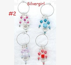 4 Sparkly Hand Created Crystal Silver Wine Glass Charms  - $15.99
