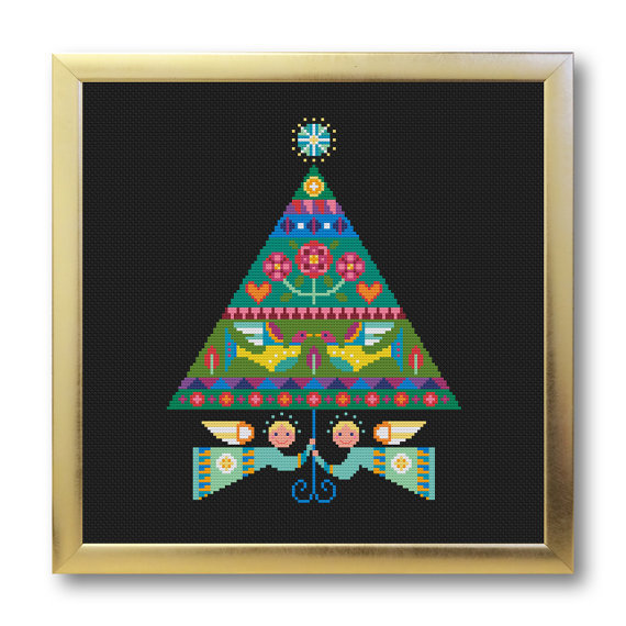 Merry and Bright christmas cross stitch chart Satsuma Street