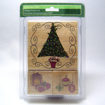 Christmas Tree, Ornaments & Packages Wood Mount Holiday Stamp Set New! - $7.00