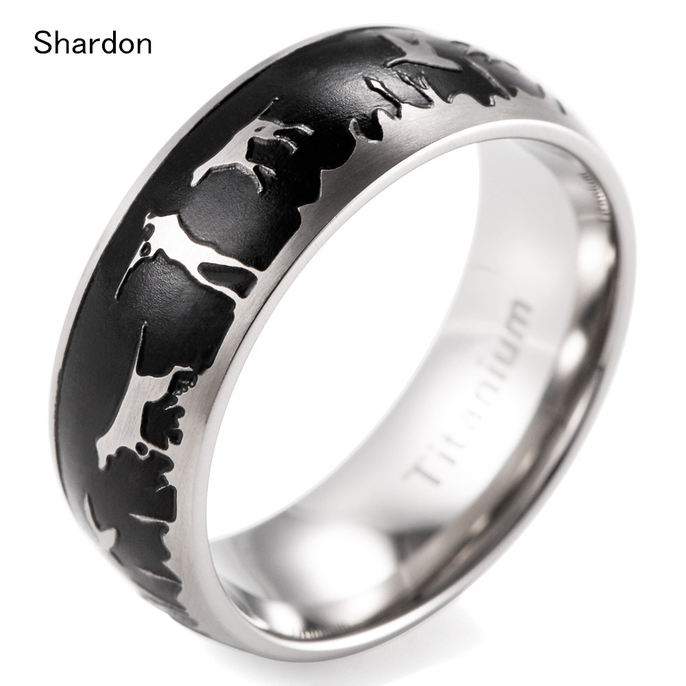 Mens Outdoors Bands: 8mm Men's Domed Titanium Black Duck Hunt Ring Outdoor
