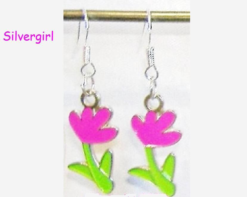Hot Pink Green Flower Charm Dangle Earrings
