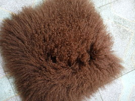 Brown Mongolian Lamb Fur Pillow Cover Chair Sofa Cushion Decorative Pill... - $63.99+