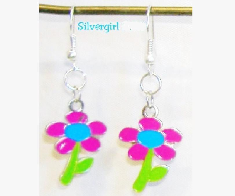 Pink Blue Green Flower Charm Dangle Earrings