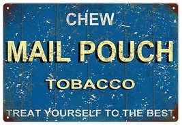 Vintage Chew Mail Pouch Tobacco Blue Background Sign - $23.76