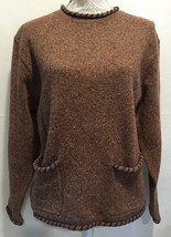 JOHN RICH & BROS WOOLRICH WOMEN 100% WOOL 2 POCKET CREW NECK SWEATER Sz ... - $413,96 MXN