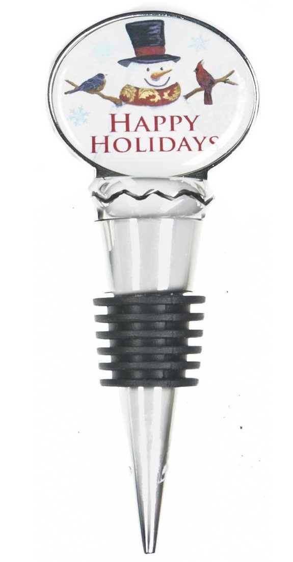 "Christmas Blessings ""Happy Holidays"" Wine Bottle Topper [Brand New] Ganz"