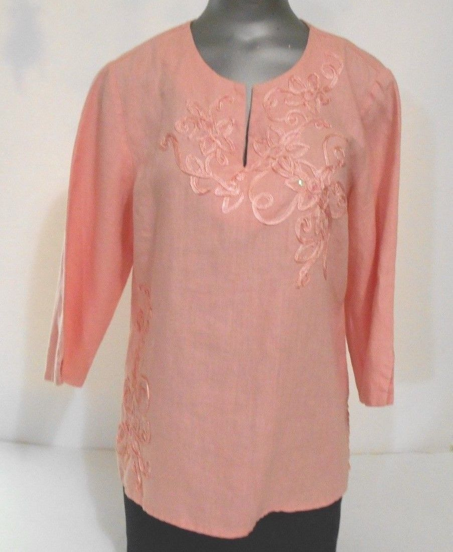 JM Collection Peach Linen Size 12P Embroidered Slit Neck 3/4 Sleeve Over Blouse